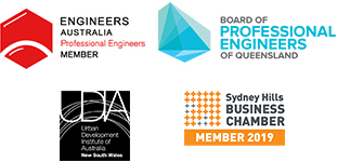 Image of 4 associate logos - Engineering Australia, Urban Development Institute of Australia, Sydney Business Chambers, Board of Professional Engineers of Queensland